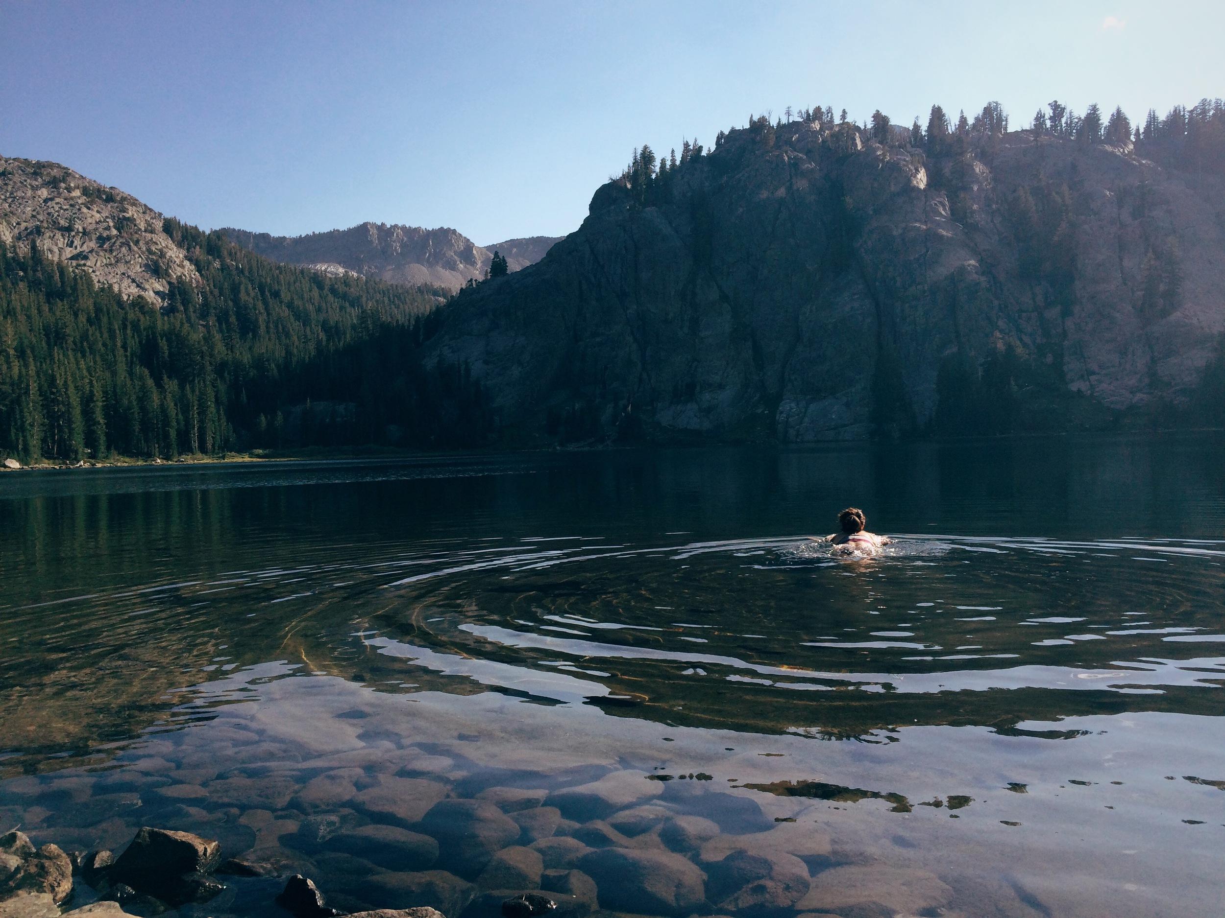 E taking a dip at Rosalie Lake.