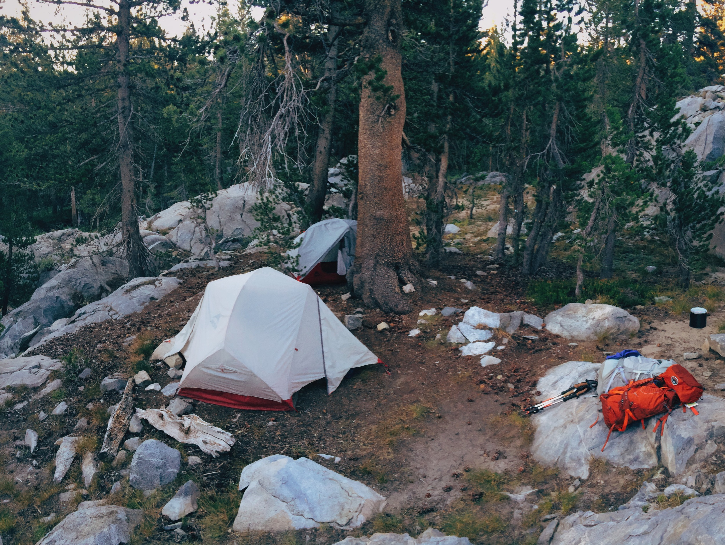 Day 2: Camping near Waugh Lake outlet.