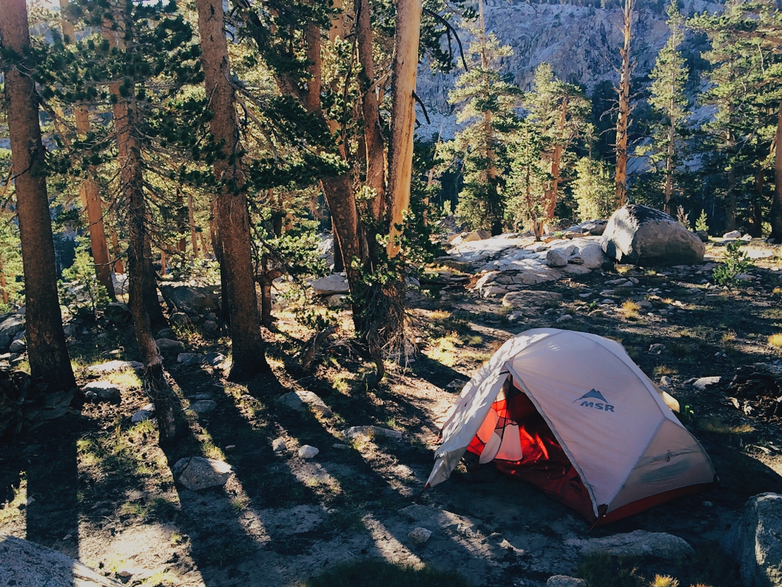 Day 1: Camping ½ mile north of Lyell Fork bridge.