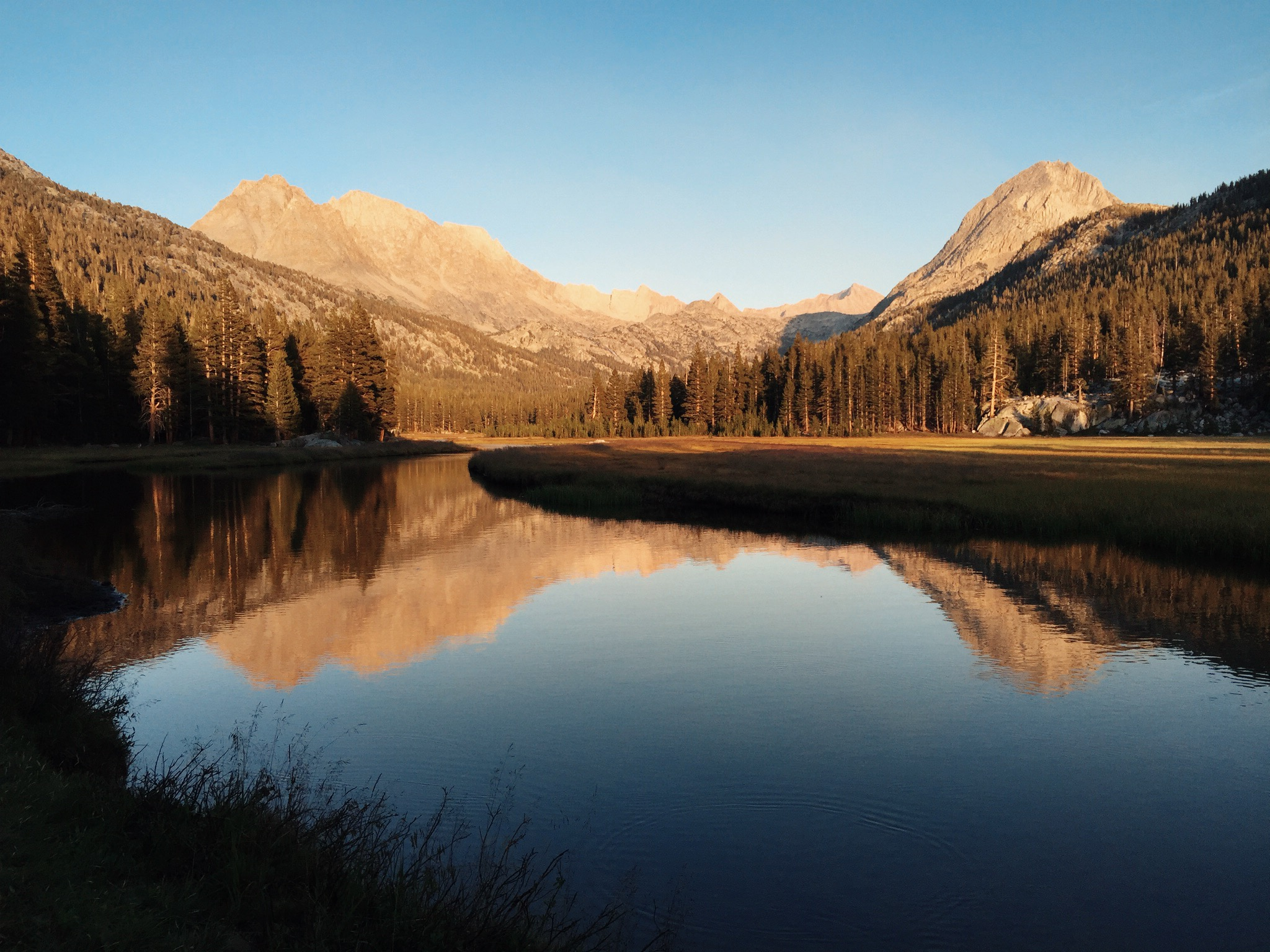 Sunset at McClure Meadow, with The Hermit (12,328') and the Evolution Group peaks reflected in Evolution Creek.