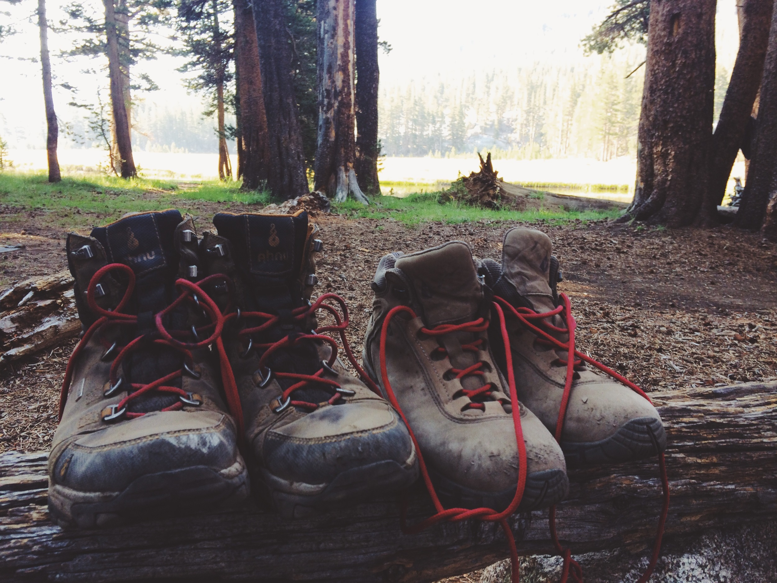 Our boots showing scars of rocky terrain.