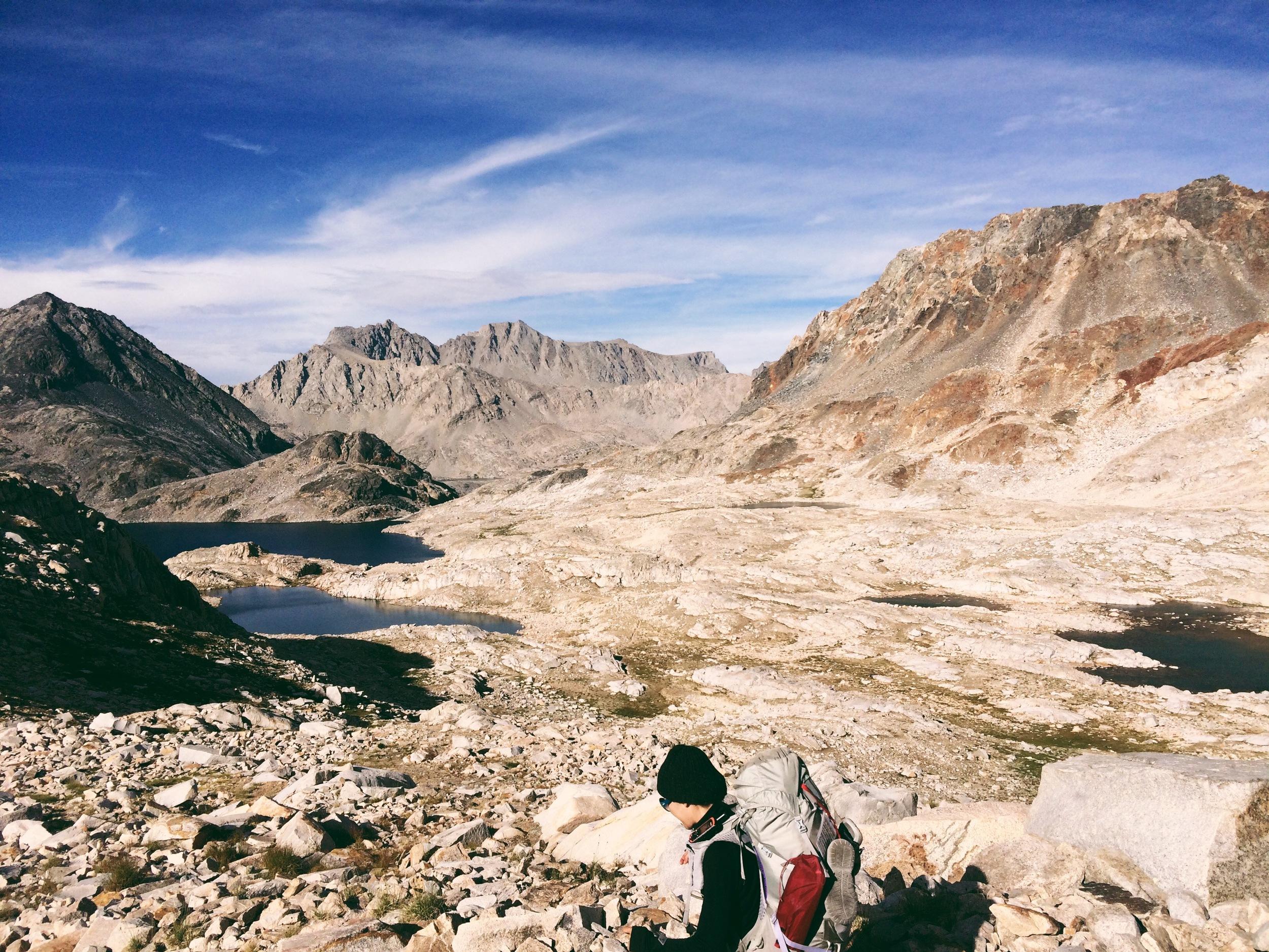 Descending Muir Pass toward Helen Lake.