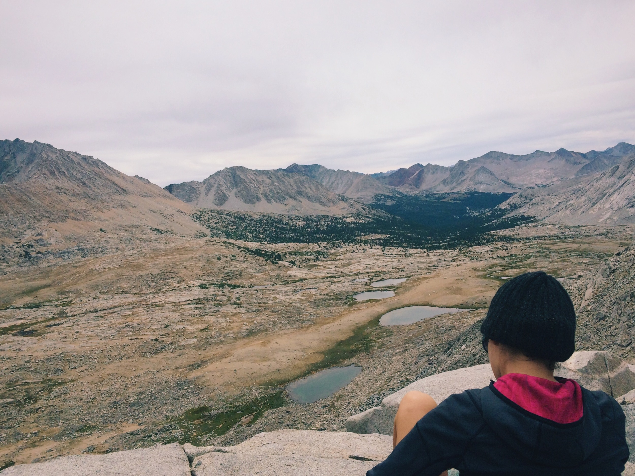 The top of Mather Pass (12,100'), looking south toward Pinchot Pass, 10 trail miles away.