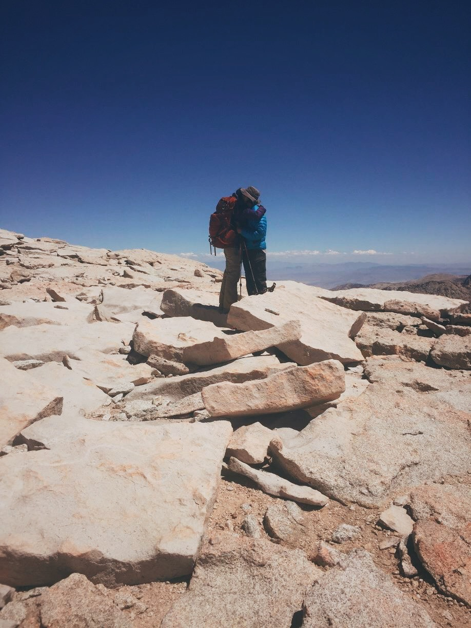 E+J celebrating the completion of the JMT at the summit (photo by Torin).