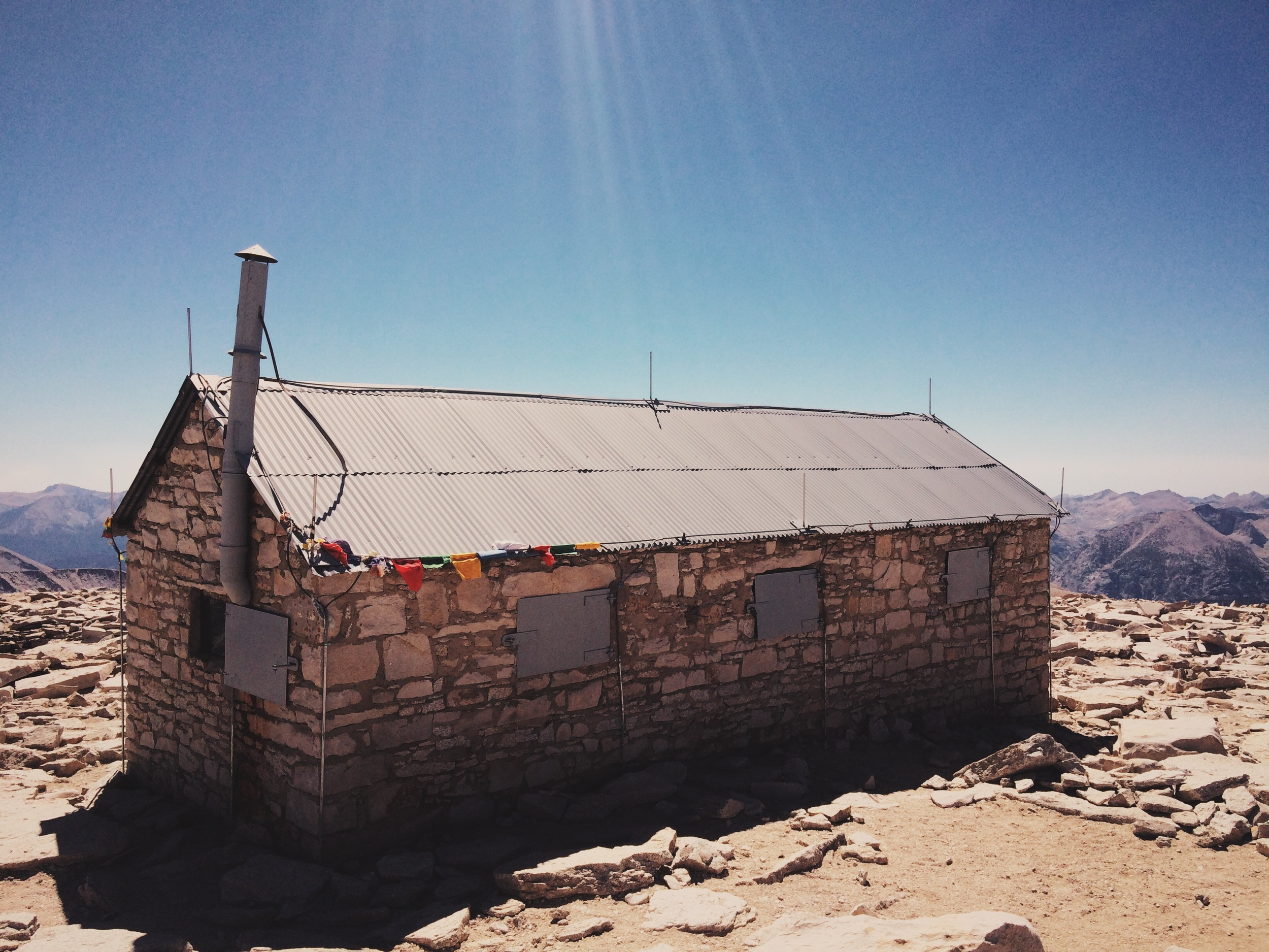 The summit shelter, built by the Smithsonian Institute in 1909.