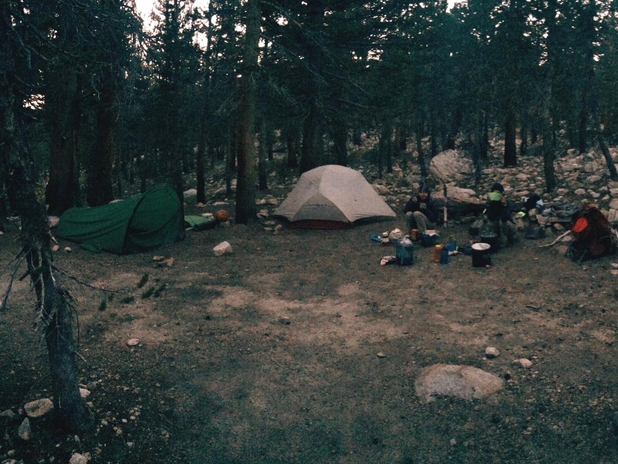 Day 16: camped near Tyndall Creek.