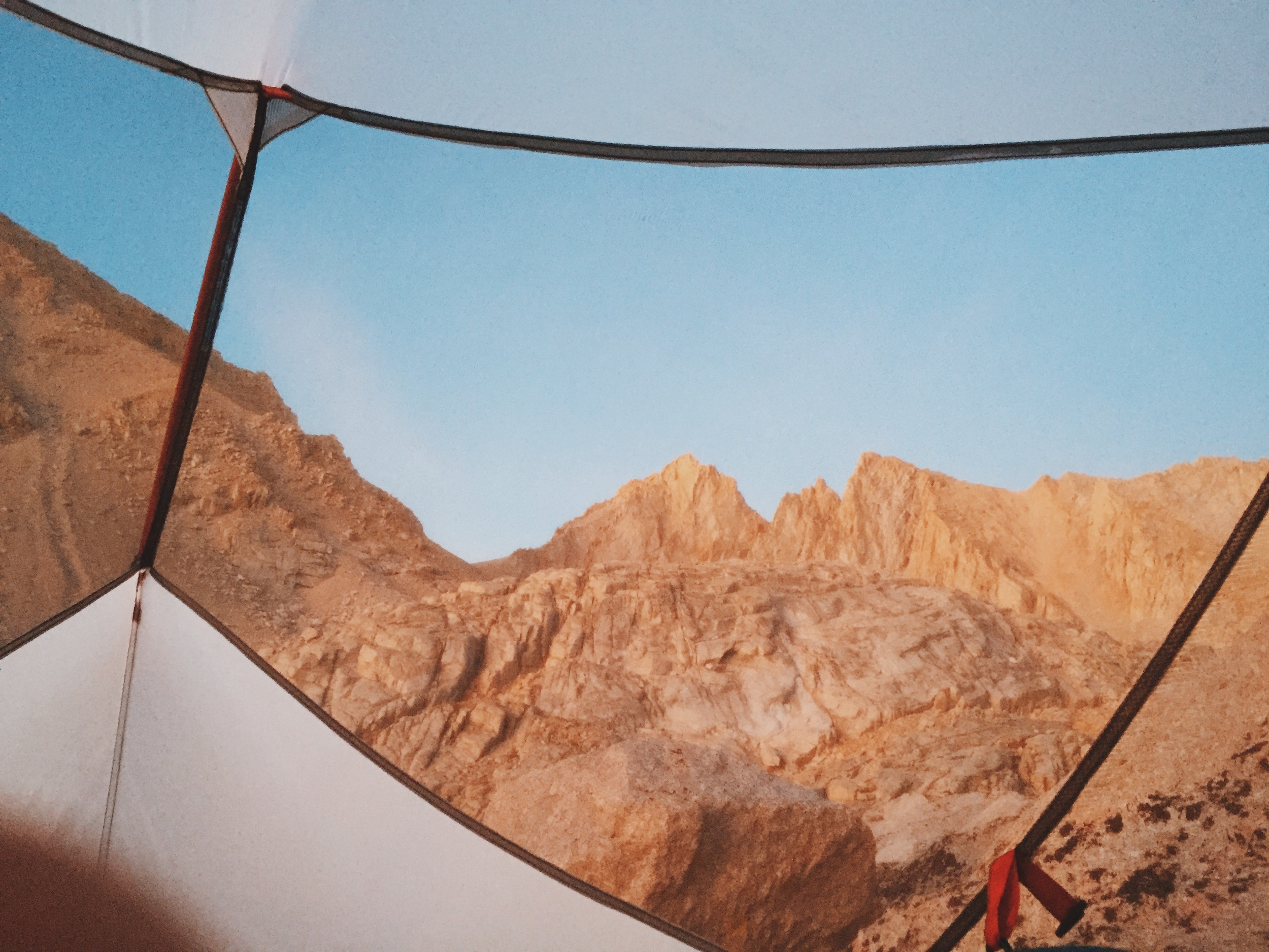 The view of sunrise from our tent on our last morning on the trail.