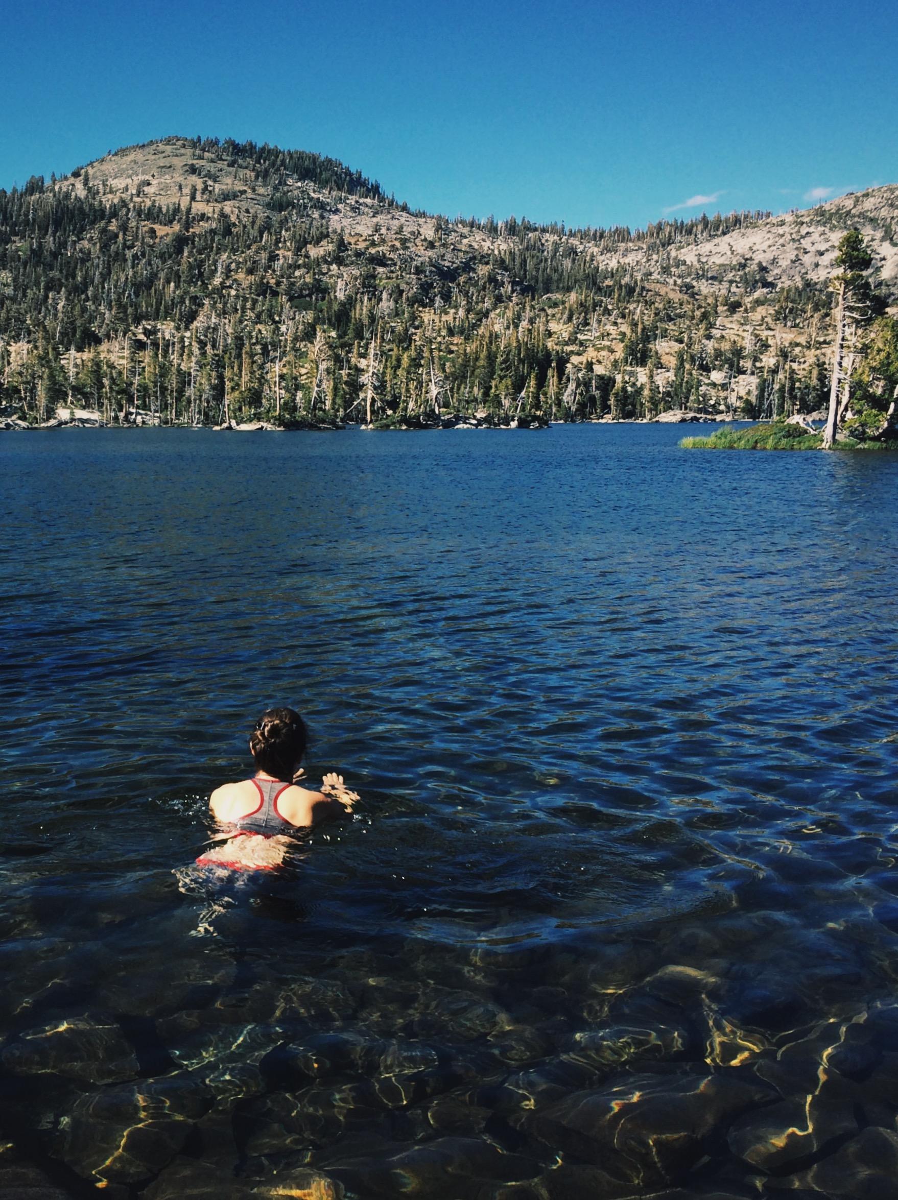 A brisk dip in Middle Velma Lake