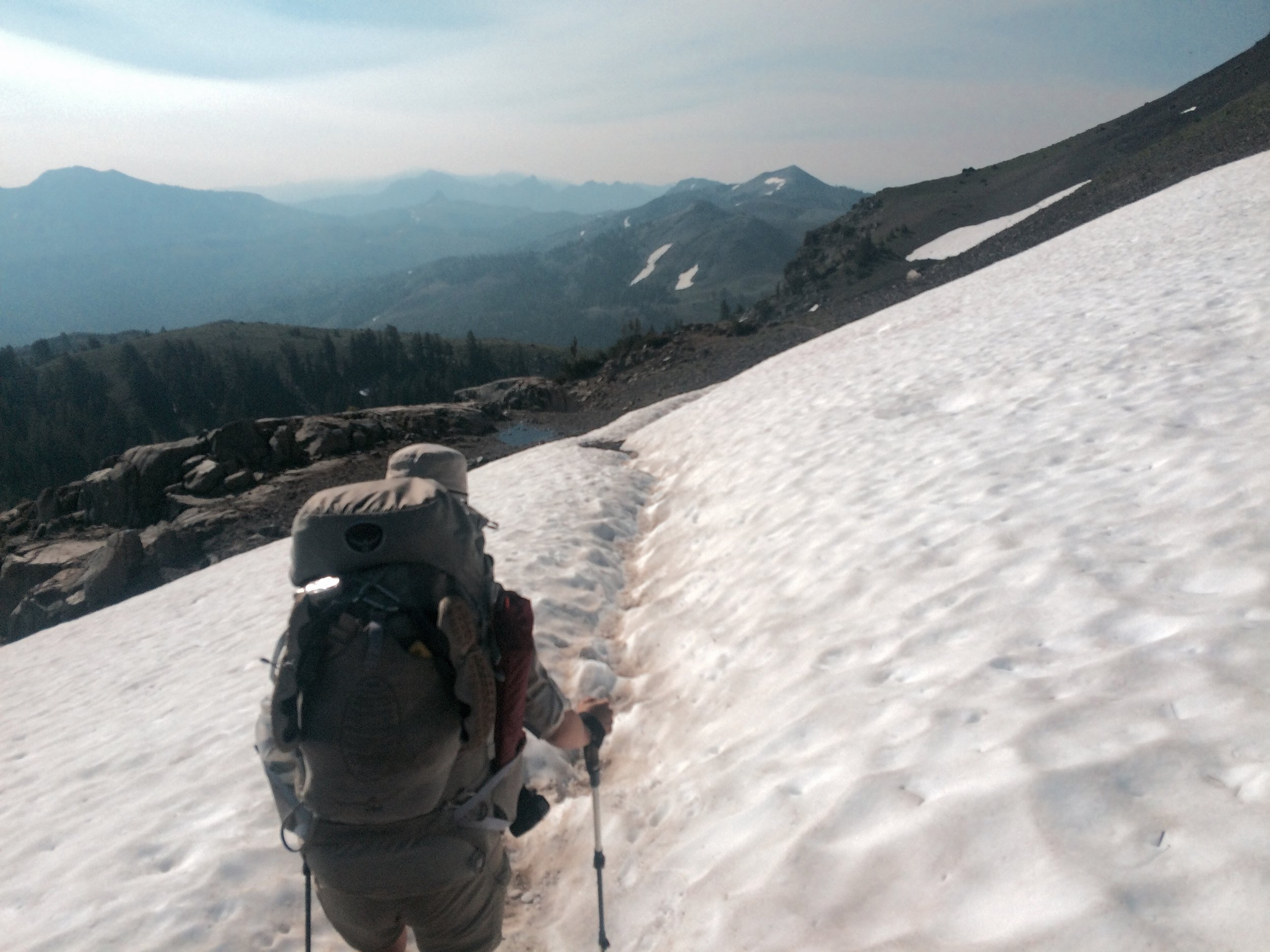 One of the lingering snow patches we crossed