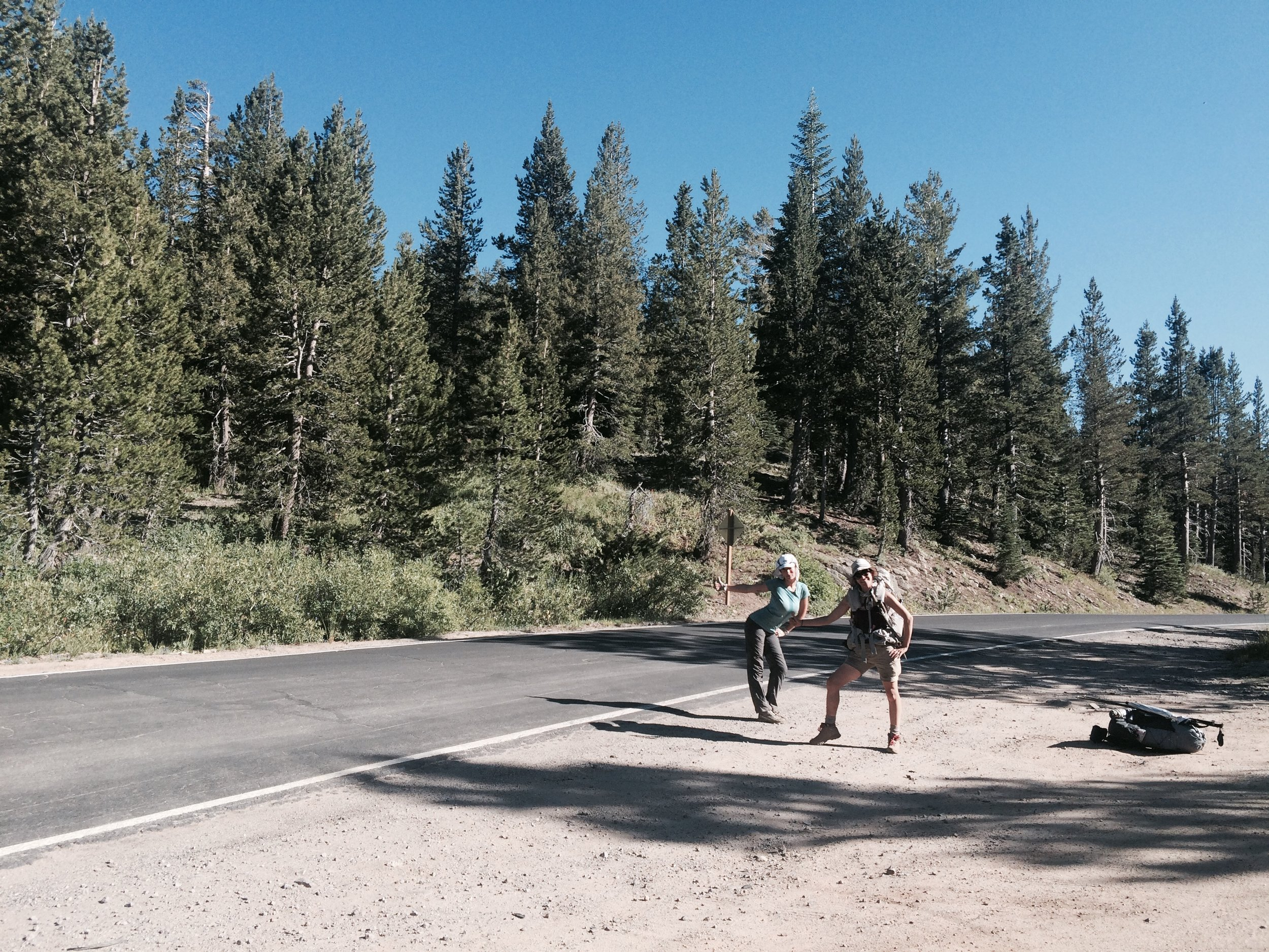 Practicing our hitchhiking skills on Highway 4.