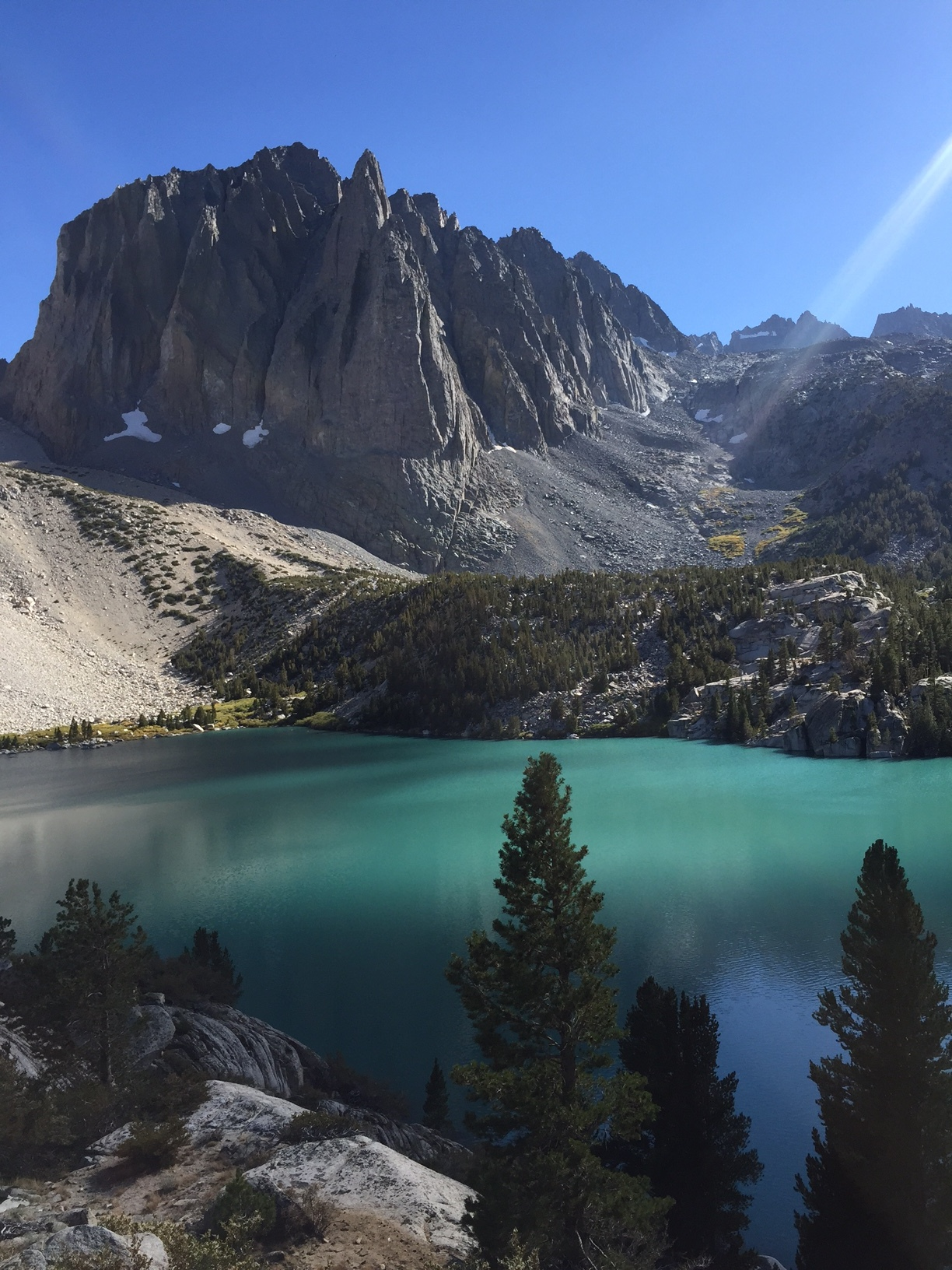 Temple Crag (12,976') towering over the milky-turquoise waters of Second Lake (10,159')