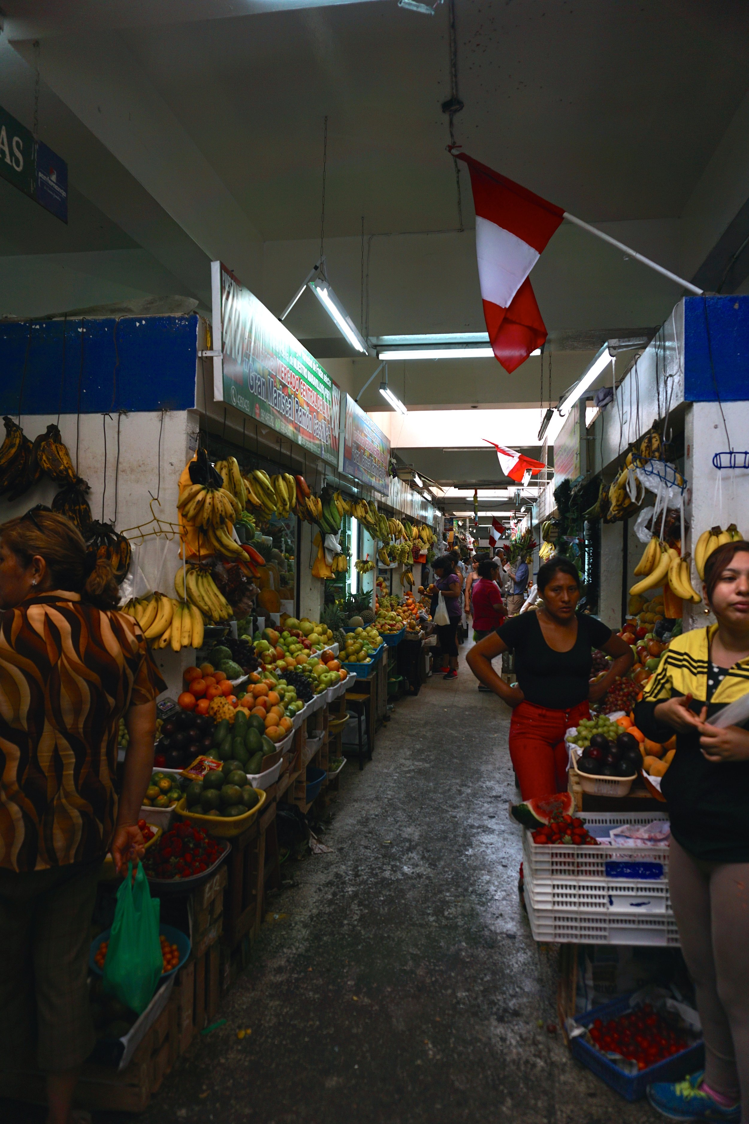 A lady unhappy that we snuck a photo in Lima's large central market.