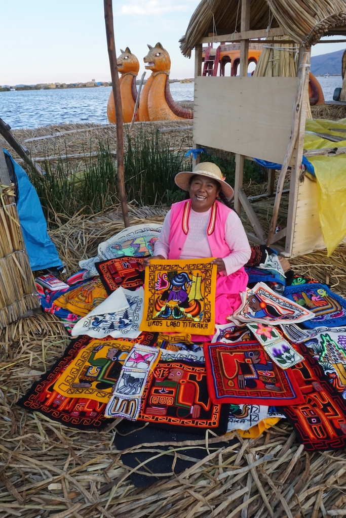 Carmen, our host on the floating island, and her wares.