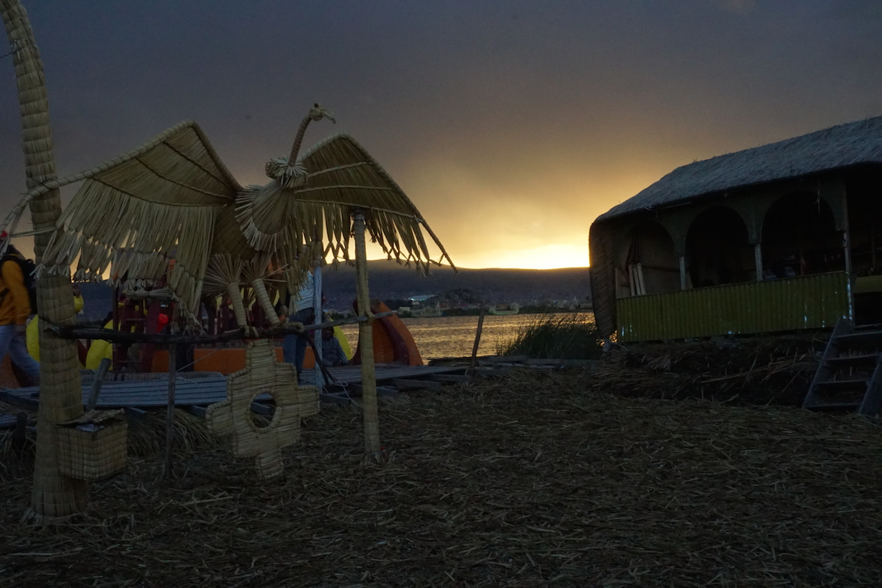 A dramatic sunset on one of the Uros Islands.