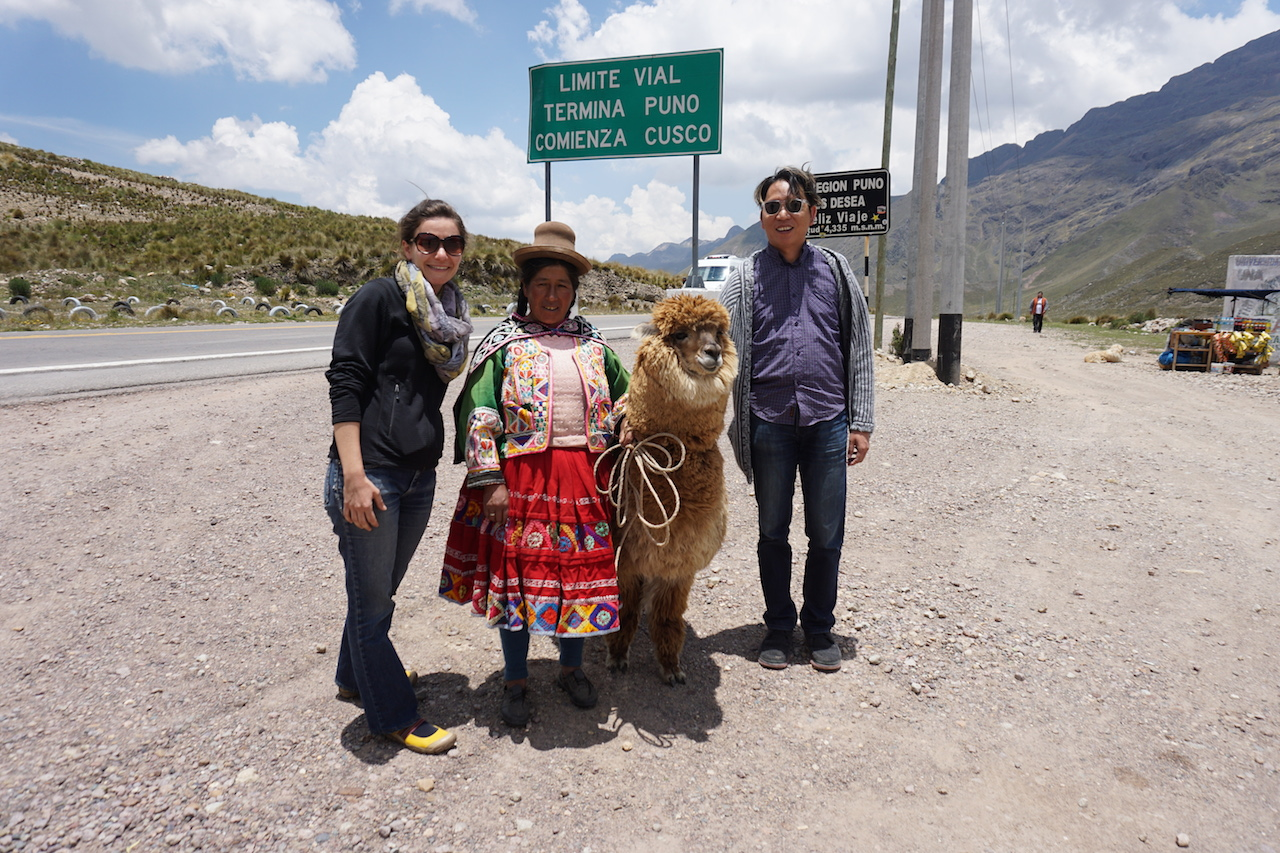 We couldn't resist this photo opp at a bus stop between Puno and Cusco.