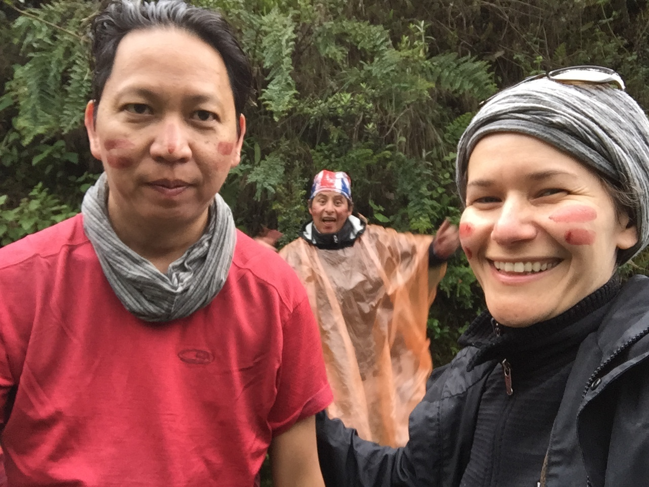 "After spending the first two days in the high Andes we descended into the jungle. One of our guides, Oscar, made finger paint with berries from the trees, which he then offered to apply to our faces ""the way the Inca warriors did."""