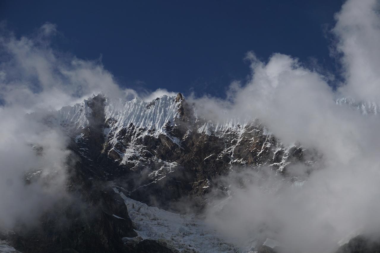 Steep,weather-beaten 19,000-foot peak above Humantay Lake.