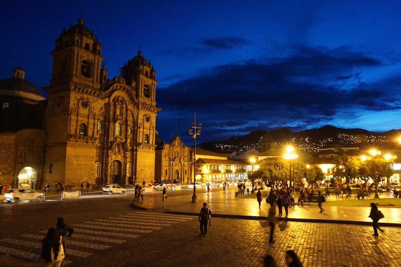 Cusco's main plaza at night