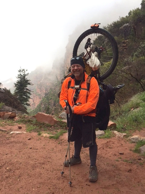 An Arizona Trail bike-packer on North Kaibab Trail