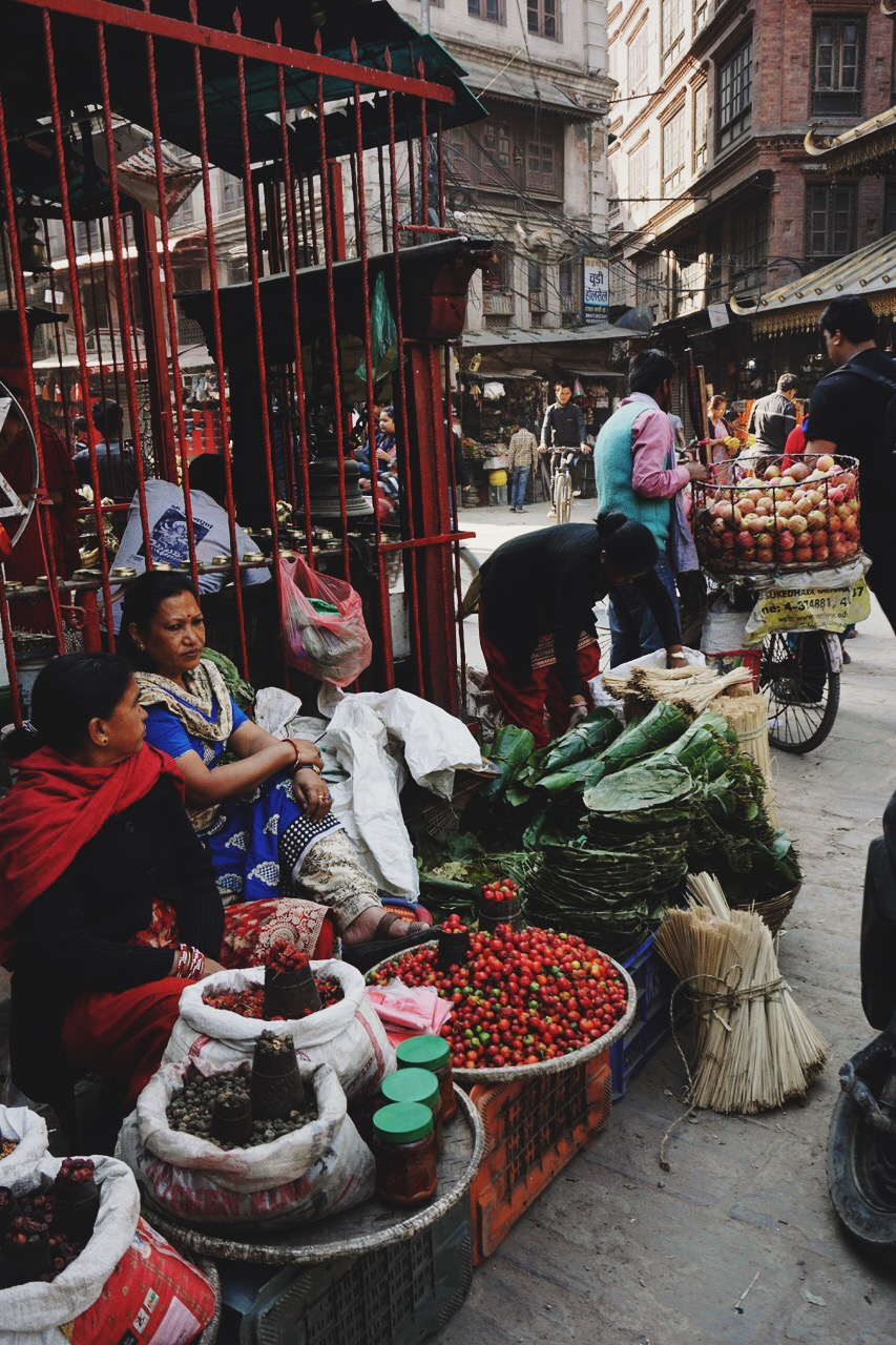Vendors in one of Kathmandu's bustling markets