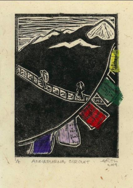 Annapurna Circuit , by Edith de Guzman. Linocut and prayer flag fabric on Nepali lokta paper.