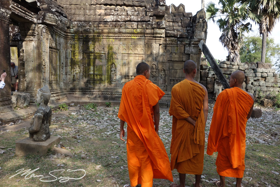 Monks at the ancient ruins