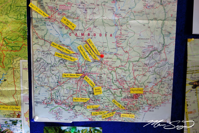 This is our route from Ho Chi Minh City, Vietnam, to Siem Reap, Cambodia.