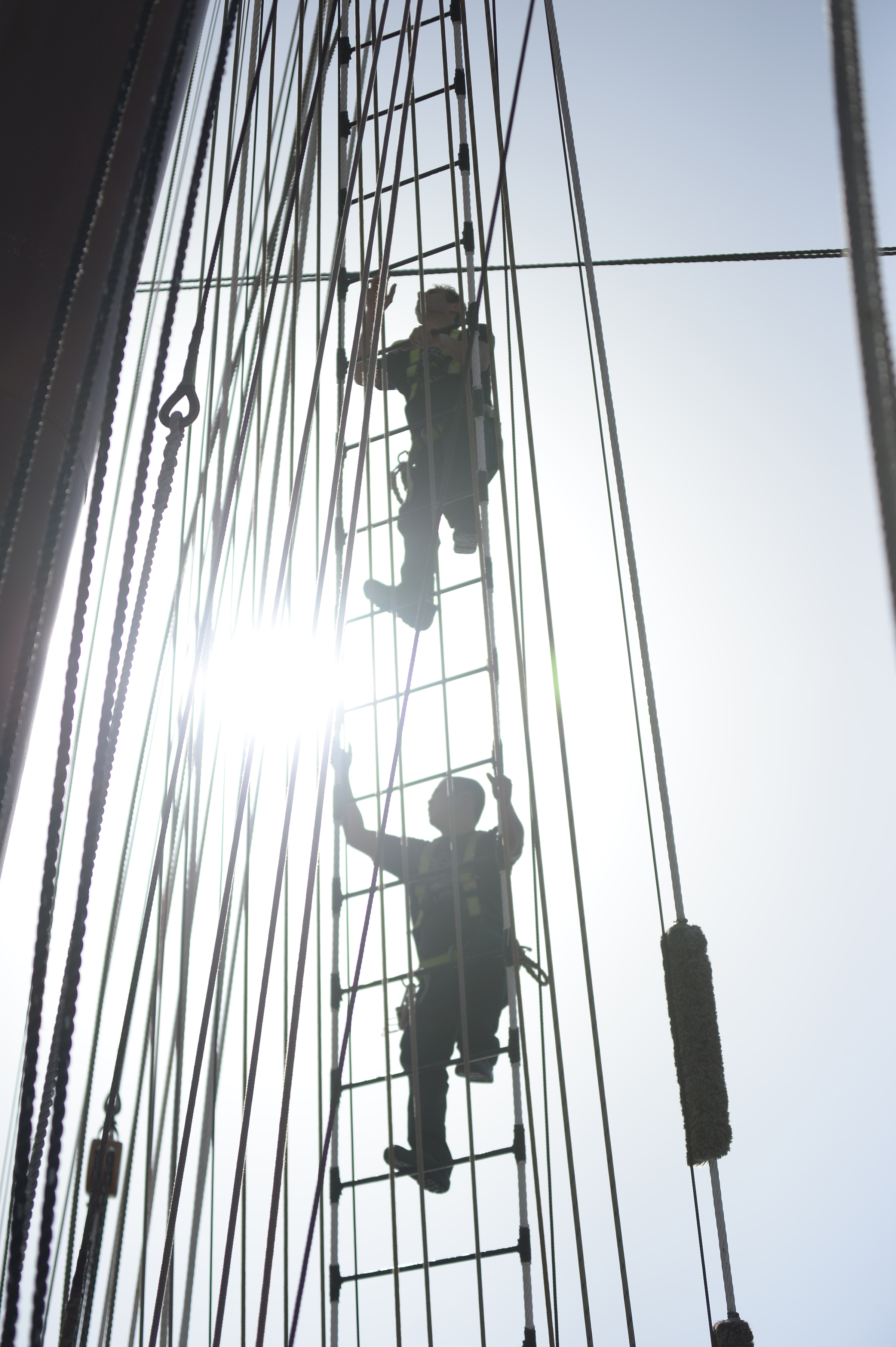 Climbing the rigging...