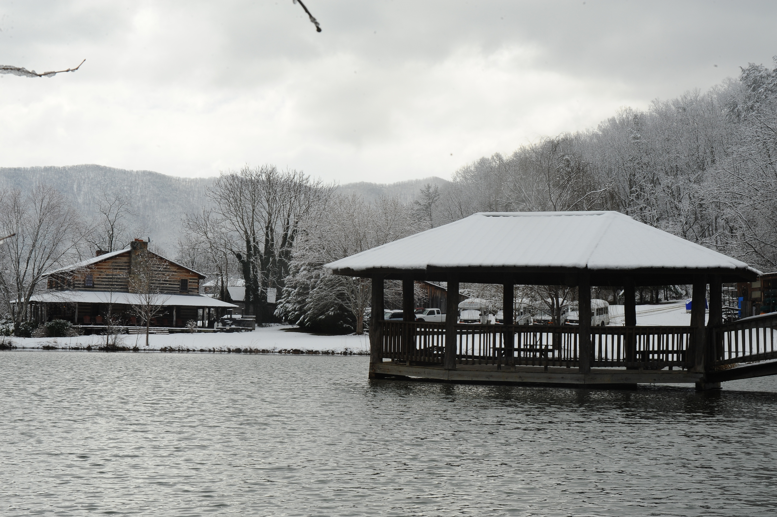 Take a walk around our scenic pond for this spectacular view of the gazebo and Main Lodge