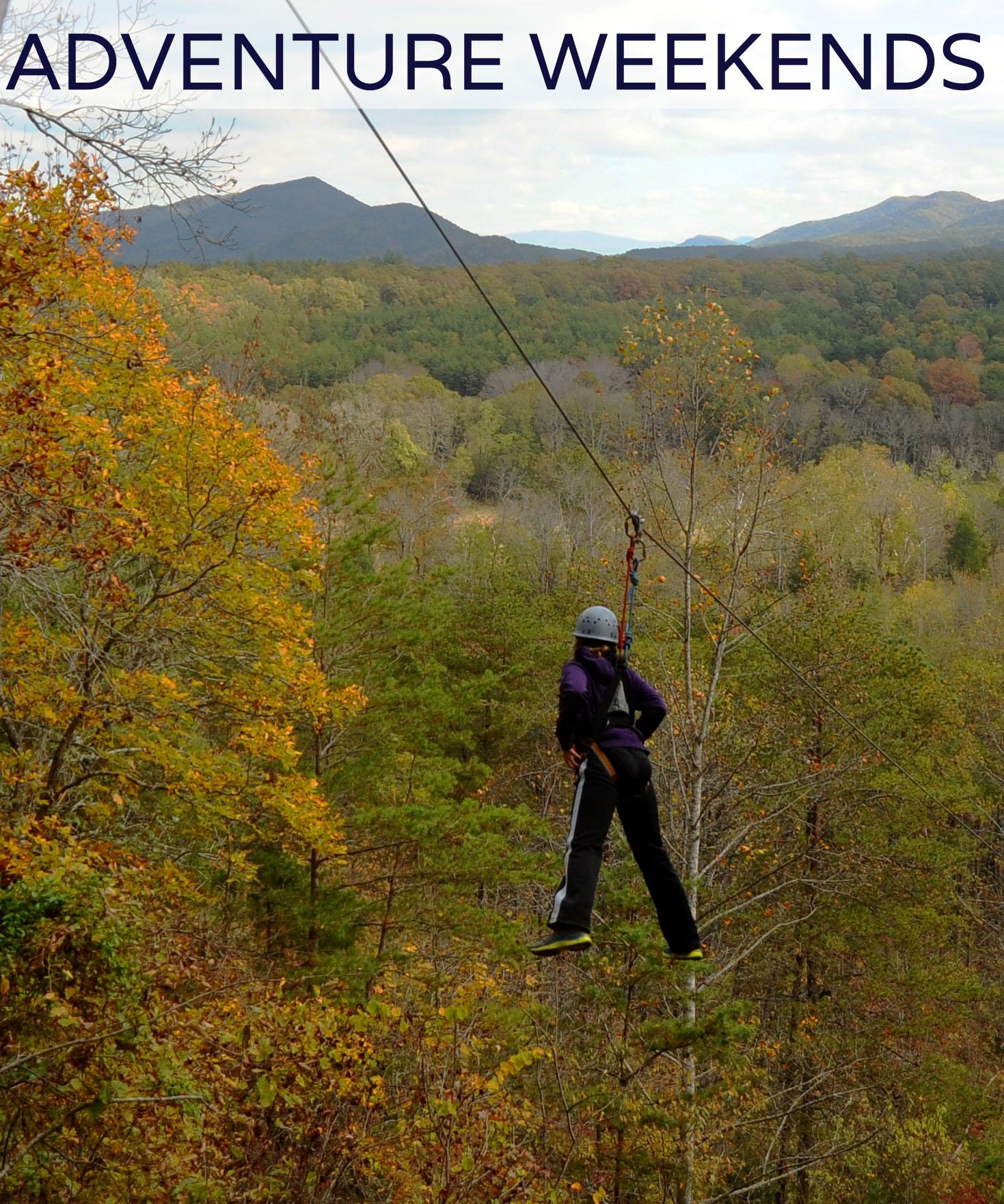 Adventure Activities for small groups: zip line, climbing wall, canoe/tube/bike rentals.