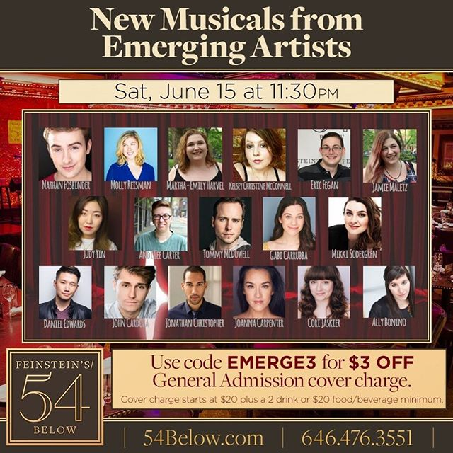 For the night owls out there, we'll be presenting material by four great new writing teams out of @nyutisch at @54below. Tickets are still available, the cast is amazing and I hope to see y'all there!