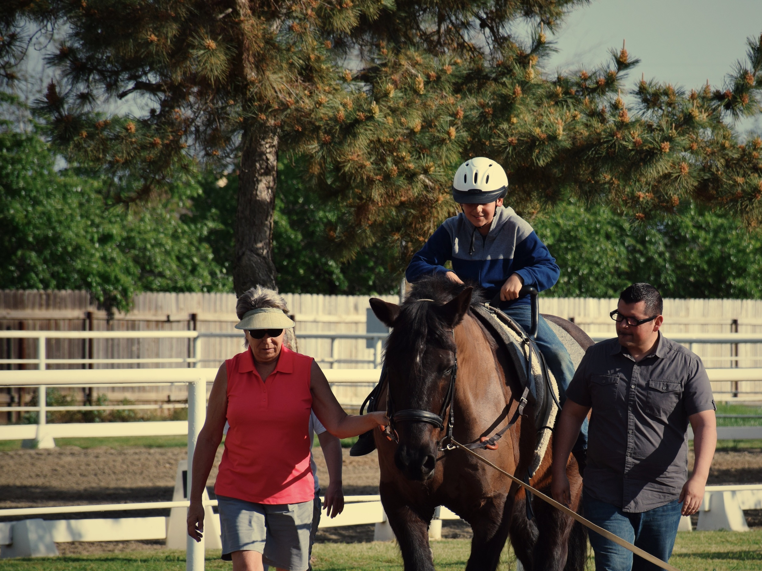 A rider experiences riding horseback for the first time