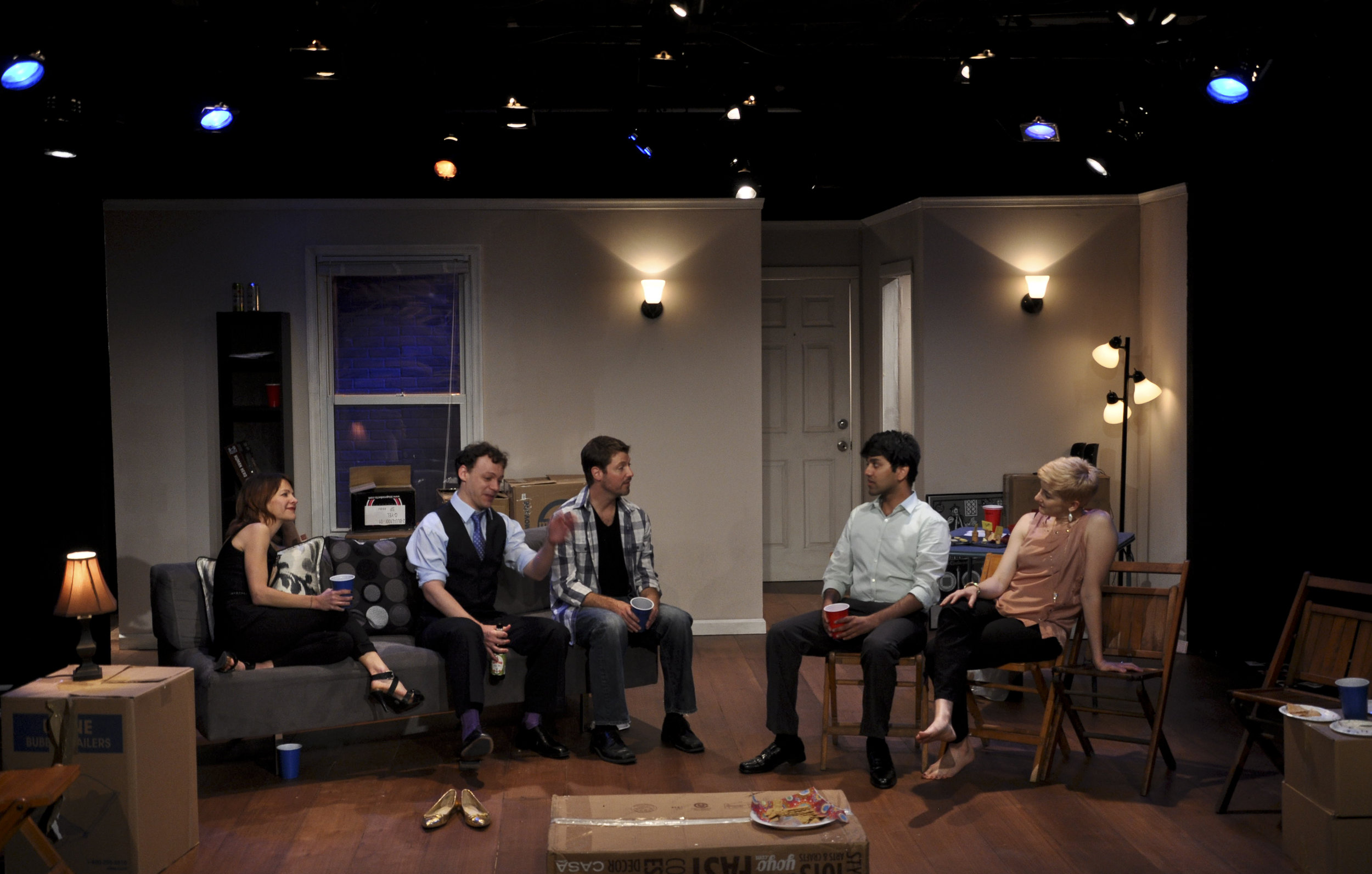 "Susan Louise O'Connor, Matthew Trumbull, Andrew Schwarz, Imran Sheikh and Moira Stone in ""Why We Left Brooklyn"" (2013)"