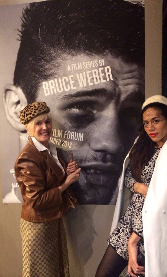 Dorothy Palmer and Peche Di in front of Bruce Weber's Film Festival poster