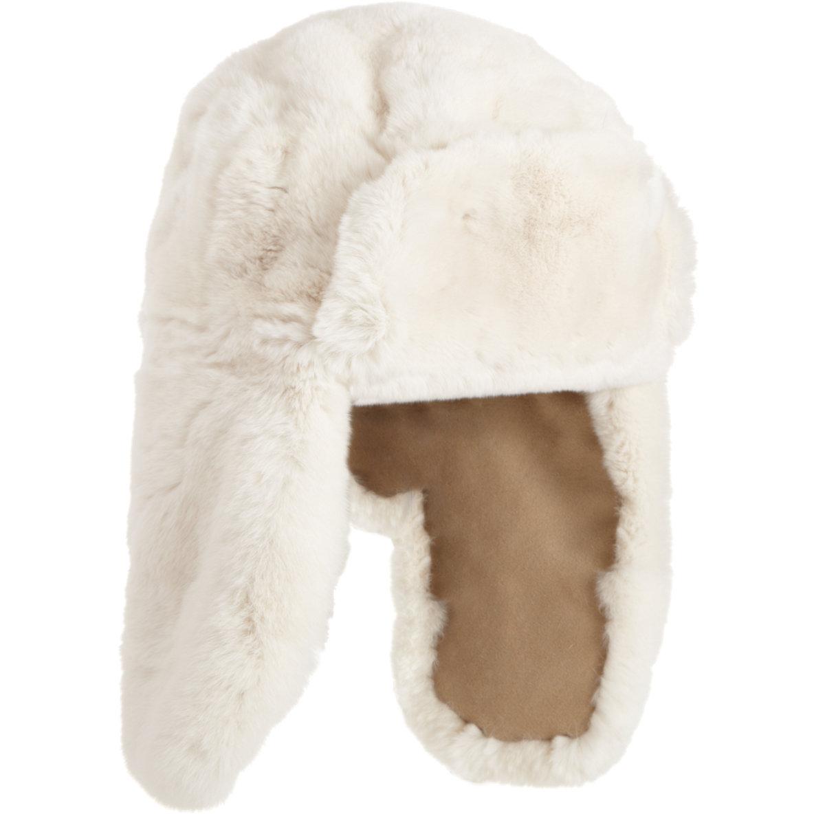BARNEYS NEW YORK Reversible Rabbit Fur Trapper Hat  $319 Sale