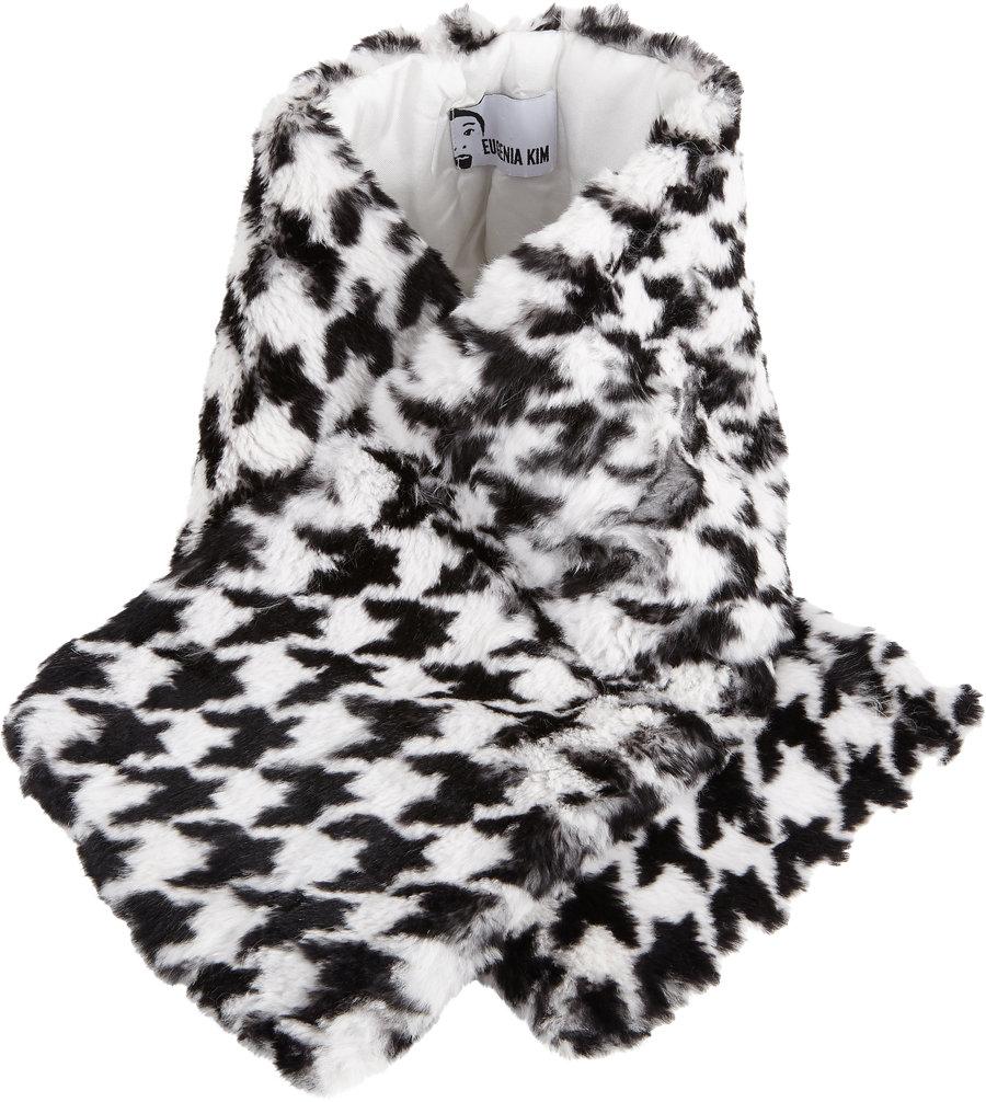 EUGENIA KIM Houndstooth Fur Devorah Wrap $259 Sale