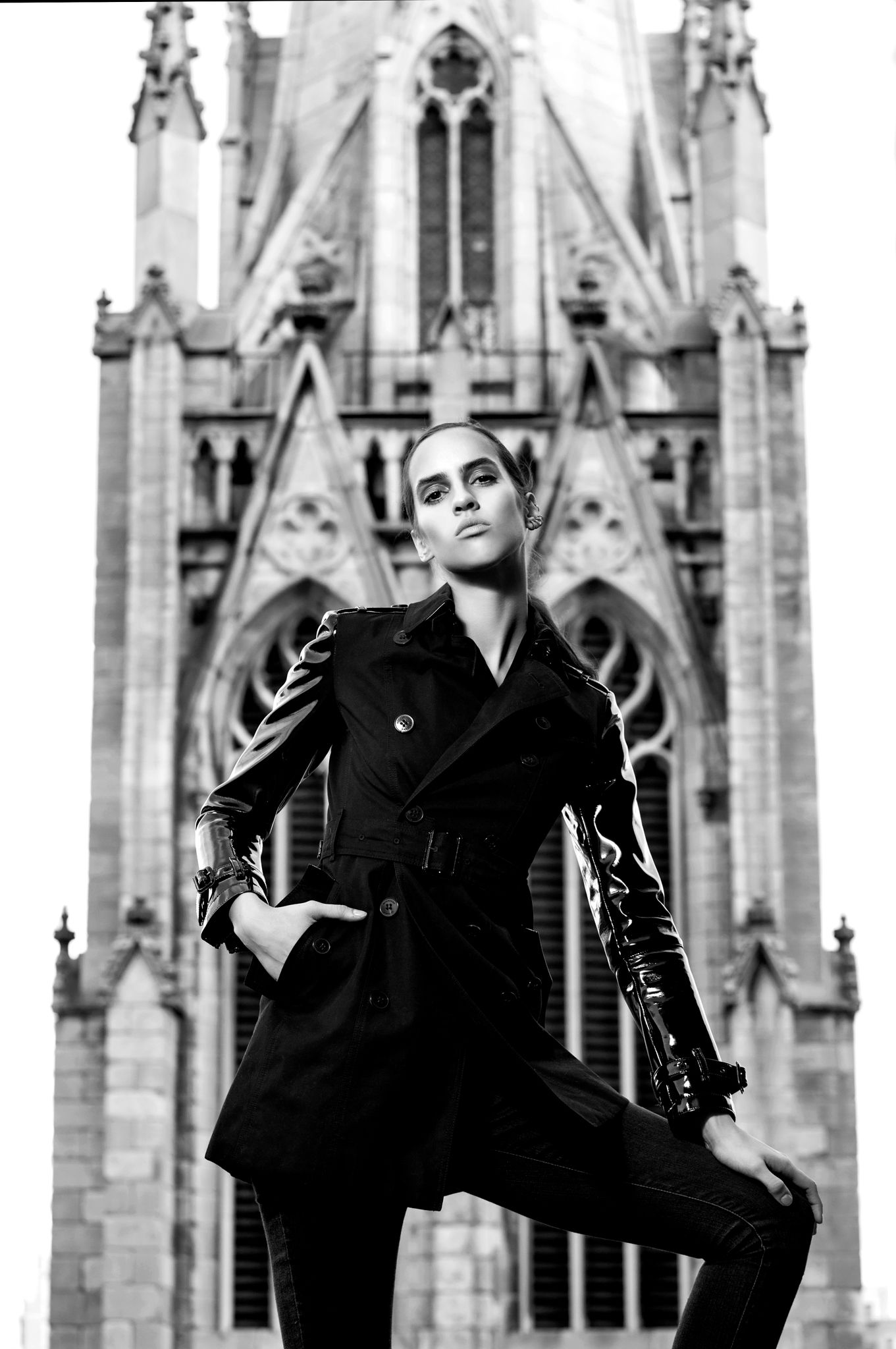 Stephanie Rogue in B urberry coat,Victoria BeckhamJeans and Repossi  Earring at Grace Church, NYC
