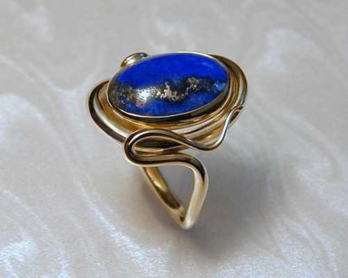 Free-form ring with Lapis Lazuli.