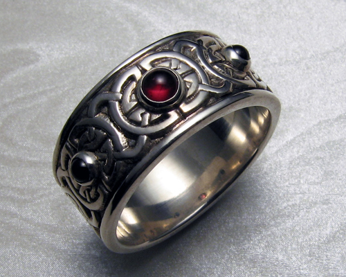 8-mm wide, Celtic wedding ring with garnets, 8th to 9th century Celtic knot-work.