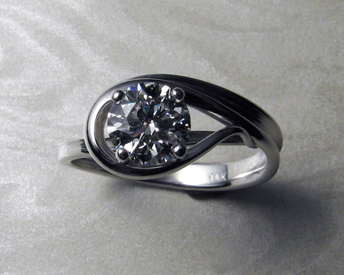 Engagement ring for, free-form engagement ring set.