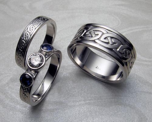 Celtic wedding rings set.