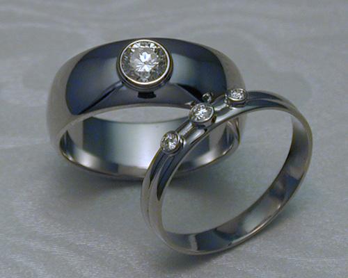 Half-Round, Wedding Band Set with Diamonds