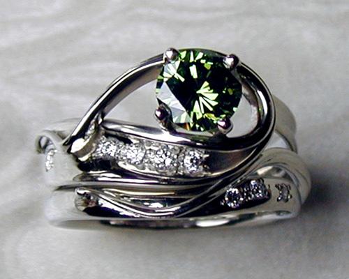 Green diamond engagement ring set.