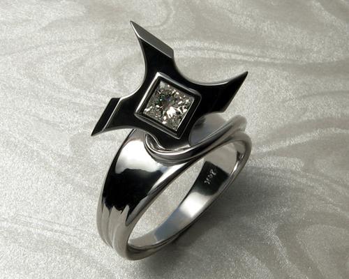 Ninja Star Shuriken engagement ring.