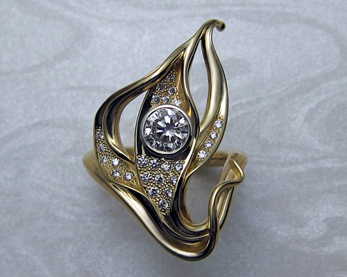 Free-form lotus engagement ring.