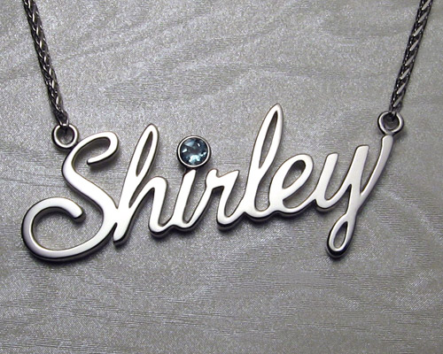 Handcrafted, Shirley, cutout name pendant.