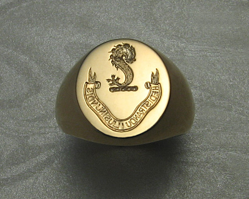 Hand engraved, dolphin signet ring.