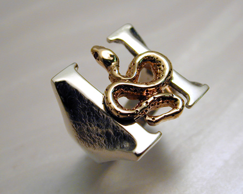 Headstones Ring - Large 22mm, Sterling H with 14k yellow gold snake, rubies set as eyes.