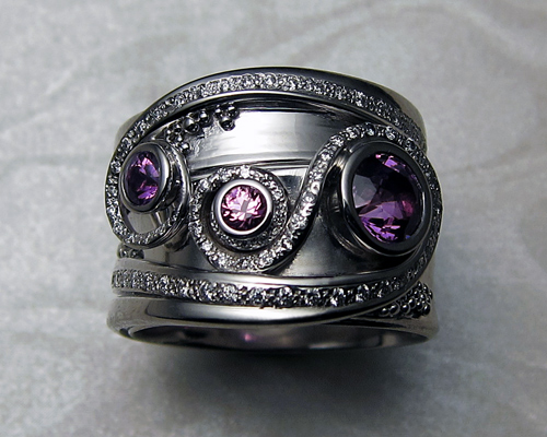 Unusual wedding set with purple grape sapphires