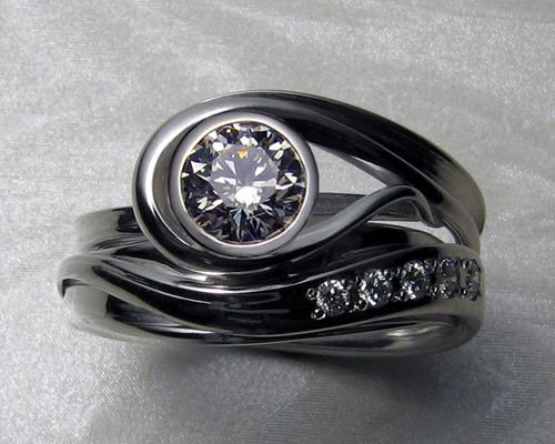 Engagement set with bezel setting.